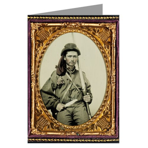 6 Vintage Greeting Cards of Southern Civil War Soldier in Infantry Uniform with Musket and Bowie Knife From the Civil