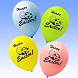 50 x Happy Easter Eggs Printed Latex Party Balloon Decorations