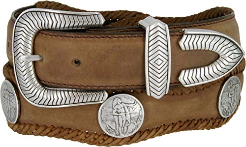 American Indian Coin Conchos Western Leather Scalloped Belt Brown 38