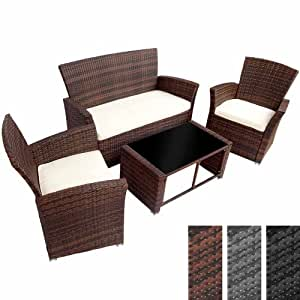 Salon de jardin en résine tressée - Marron - Ensemble canapé, table avec plateau en verre noir , 2 fauteuils et coussins - DIVERSES COULEURS AU CHOIX