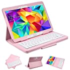 SUPERNIGHT Ultra Thin Keyboard Case Cover Detachable Bluetooth Keyboard + Stand Leather Case For Samsung Galaxy Tab 4 10.1-inch Tablet SM-T530 / SM-T535 - Pink Color