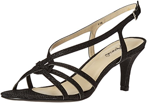 Annie Shoes Women's Lil Wide Calf Dress Sandal, Black, 8 W US