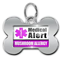"Dog Bone Pet ID Tag Medical Alert Purple ""Mushroom Allergy"" - Neonblond from NEONBLOND"