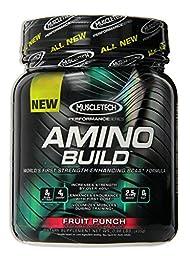 MuscleTech Amino Build Powder, Strength-Enhancing BCAA Formula, Fruit Punch, 0.96 lbs (435g)