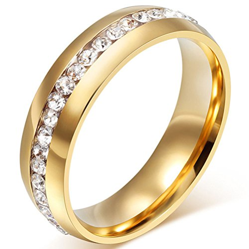 Mens Womens 6mm Titanium Stainless Steel 18k Gold Wedding Ring Channel Set Cubic Zirconia Engagement Band Size 5 (Mens Stainless Steel Ruby Ring compare prices)