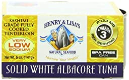 Henry and Lisa\'s Natural Seafood Low Sodium Solid White Albacore Tuna Can, 5 Ounce