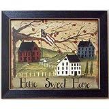 Framed Home Sweet Home Primitive Salt Box Flag Picture
