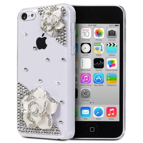 Fosmon Gem Series 3D Bling Design Case For Apple Iphone 5C (Clear Case / White Rhinestone Flower)