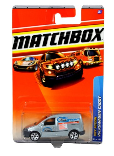 "Mattel Year 2009 Matchbox MBX City Action Series 1:64 Scale Die Cast Car #65 - ""Quick Steam Cleaners"" Silver Color Light Commerical Vehicle VOLKSWAGEN VW CADDY"