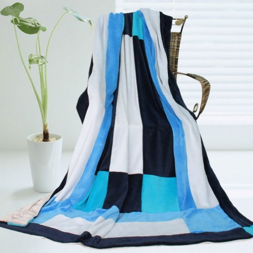 Onitiva - [Coming Spring] Soft Coral Fleece Patchwork Throw Blanket (59 By 78.7 Inches) front-551165