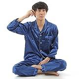 N-hilfe メンズ パジャマ 大人用 長袖 前開き ナイトウェア (XL (身長目安165~175cm), ブルー)