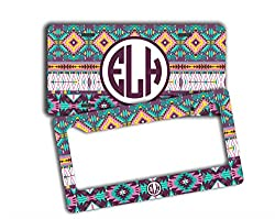 See Aztec personalized monogrammed license plate PLUS frame - Purple tribal pattern with light blue - custom monogram front car tag and frame (SET) Details