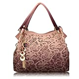 Women Hollow Out Bags Ladies Elegant Carved Tassel Shoulder Bags (Pink)