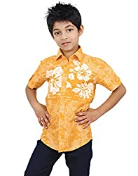 Zeal Boy's Casual Floral Print Half Sleeve Cotton Shirt