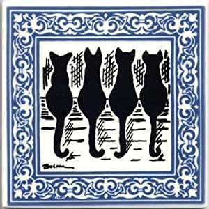 CAT TILES - CAT WALL PLAQUES - CAT TRIVETS WITH BLUE VICTORIAN BORDER: CA-4B by Besheer Art Tile
