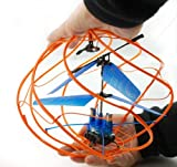 Haktoys Helisphere HS365 UFO Flying Ball 3 Channel Mini RC Helicopter, Rechargeable, Ready to Fly, and with LED Lights - Colors May Vary
