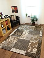 Milan Brown, Grey, Beige & Cream Patchwork Rug 1568-N11 - 5 Sizes from The Rug House