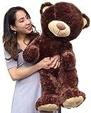 Big Plush Large Teddy Bear Three Feet Tall Brown Color Soft Smiling Big Teddybear