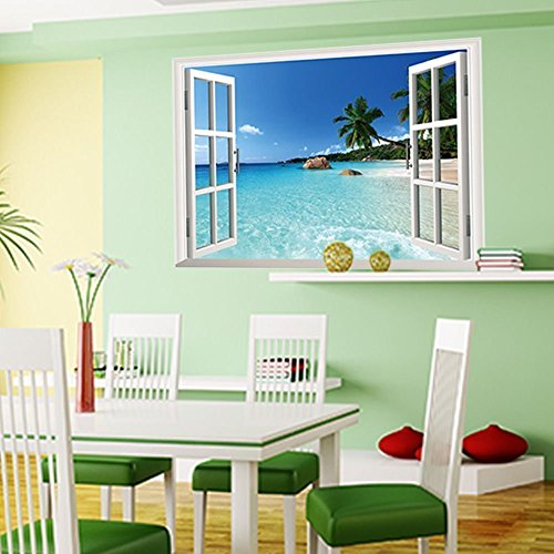 Amaonm® New Design Removable Huge Large 3D Beach Sea Window View Art Decor Wallpaper Mural Wall Decals Sticker for Home Wall Art Decor Kids Bedroom Living Room Decorations