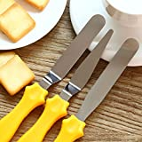 Professional Offset Spatula Set with Plastic Handle - 3-Piece Stainless Steel Icing Spatula Variety Set & Cake Decorating Tools, Flexible Resistant Blades, 2 Angled and 1 Straight