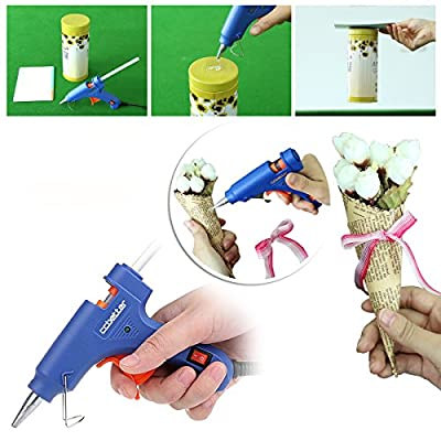 CCbetter® Mini Hot Melt Glue Gun with 25 pcs Melt Glue Sticks High Temperature Glue Gun Kit Flexible Trigger for DIY Small Craft Projects & Package and Quick Repairs in Home & Office Cleanly (20-watt, Blue)