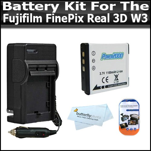 Battery And Charger Kit Includes Extended Replacement NP-50 (1100 mAH) Battery + Ac/Dc Rapid Travel Battery Charger + LCD Clear Screen Protectors For The Fujifilm FinePix Real 3D W3 Digital Camera