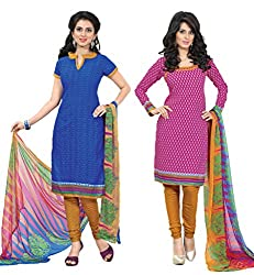 Inaaya Collections Coton printed dress Blue:Pink colored 2 in 1 dress material