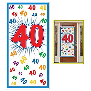 "HAPPY 40th BIRTHDAY Party DOOR COVER/Banner/DECOR/DECORATIONS 30"" x 60"" FORTIETH/Look Who's 40-OVER the HILL Parties from BEISTLE"