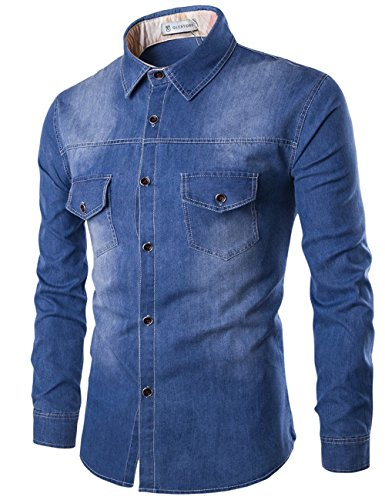 Glestore Uomo Camicie Jean Maniche Lunghe Moda Men Shirts Slim Fit Casual Long Sleves Fashion