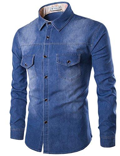 Glestore -  Camicia Casual  - Camicia - Basic - Classico  - Maniche lunghe  - Uomo Blu XXX-Large