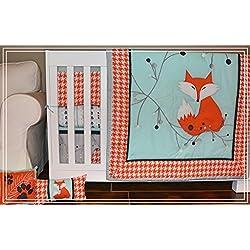 DK Leigh Fox Houndstooth 5 piece Crib Bedding Set, Grey/Orange/Mint