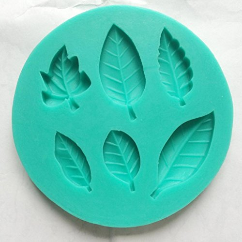 Allforhome Leaf Silicone Mould - Create 6 Leaves - Fondant Leaf Mold - Sugarcraft Leaf candy Mold - flexible silicone mould, Sugarcraft fondant gunpaste cake decoration cupcake topper icing sugarpaste silicone mould, non stick Sugar paste, Chocolate, Butter, Resin, Cabochon, Polymer Clay, fimo, gum paste, PMC, Wax, Candle, Soap Mold