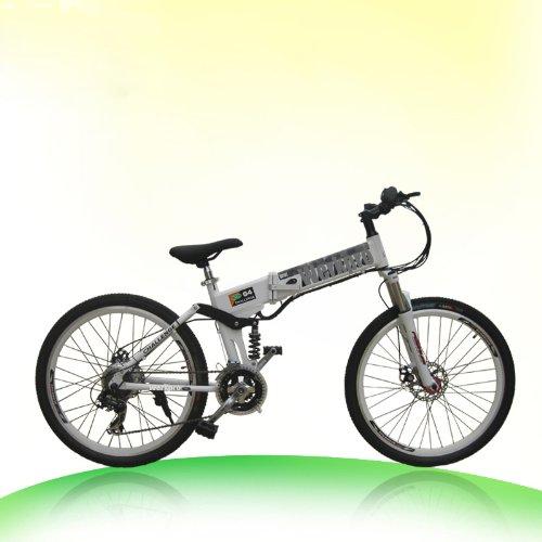 "ebike 26"" Zoll Mountainbike Faltrad Klapprad Elektro Batterie Pedelec 21 gang (Weiß)"