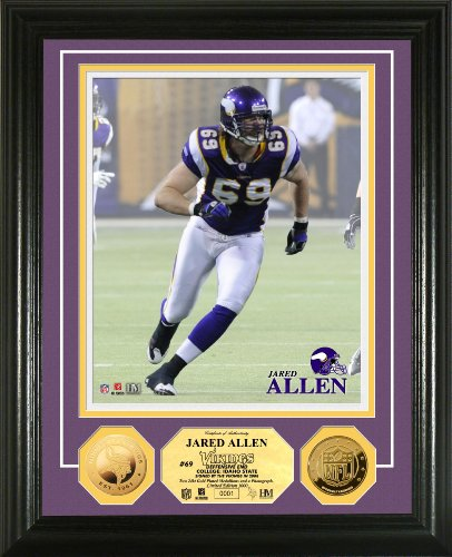 Highland Mint NFL Minnesota Vikings Jared Allen 24KT Gold Coin Photomint