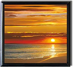 Sunset on the Sea by Dan Werner Satin-Black Framed Canvas (Ready-to-Hang)