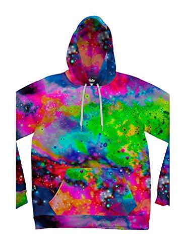 Beloved Shirts Neon Galaxy Hoodie – Premium All Over Print Graphic Hoodies – XX-Large