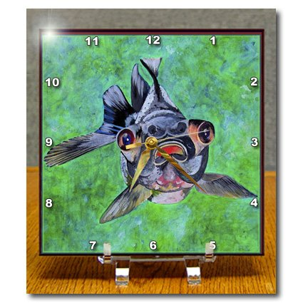 Dc_48473_1 Taiche - Acrylic Painting - Blackmoor Goldfish - Blackmoor Goldfish- Blackmoor Goldfish, Telescope Goldfish, Goldfish, Dragon Eye Goldfish - Desk Clocks - 6X6 Desk Clock