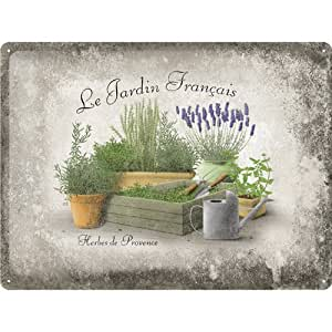 Le Jardin Francais Large Embossed Metal Sign
