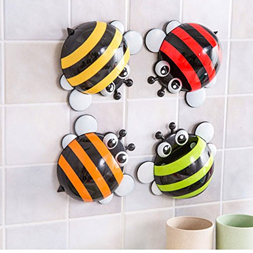 Creative Home Accessories Cartoon Bee Toiletries Toothpaste Holder Bathroom Sets Suction Hooks Tooth Brush Holder - YELLOW