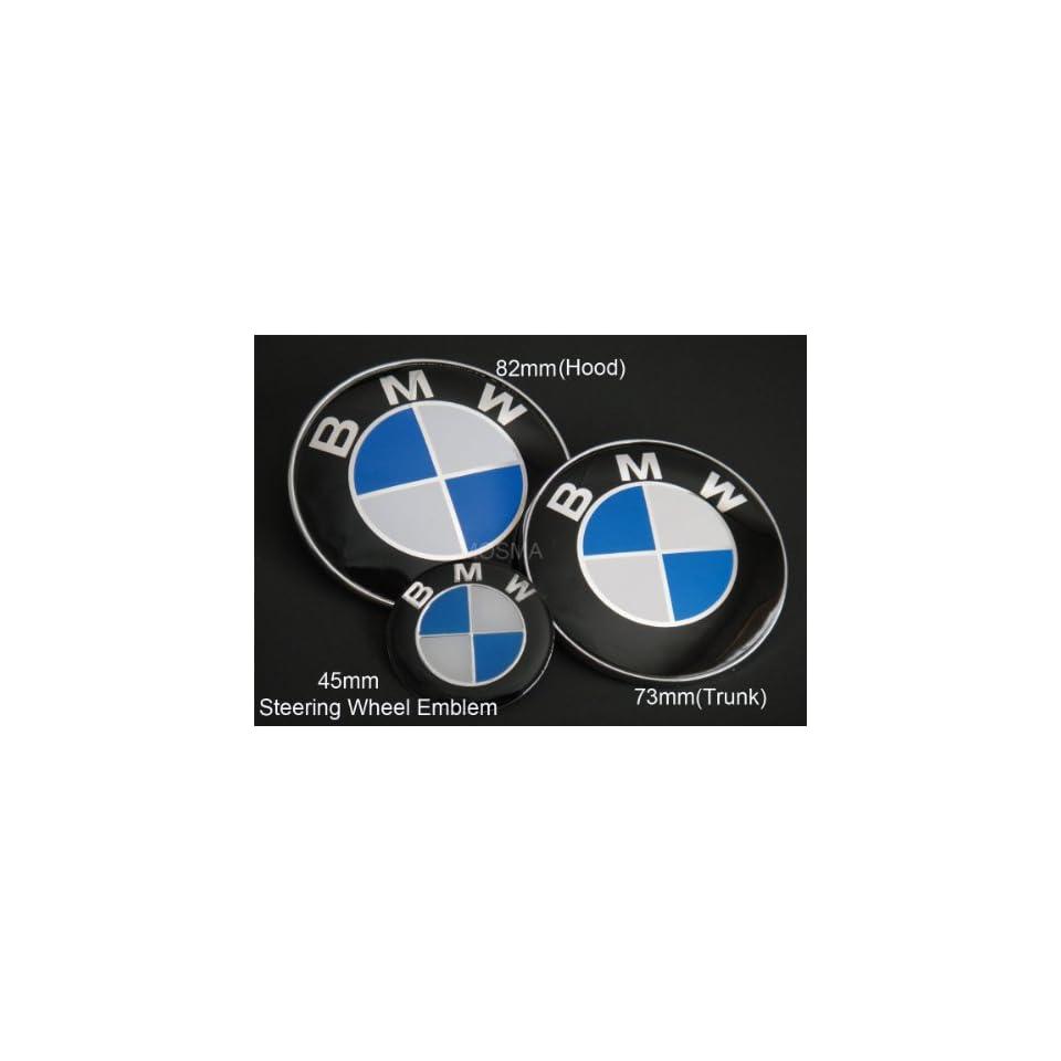 BMW 99 05 3 SERIES E46 COUPE SEDAN Blue/White Hood/Trunk/Steering Wheel EMBLEMS 82+73+45
