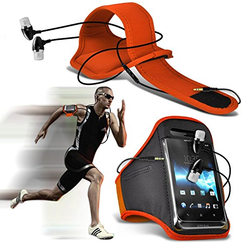 ( Orange + Ear phone ) LG X power Case High Quality Fitted Sports Armbands Running Bike Cycling Gym Jogging Ridding Arm Band Case Cover With Case High Quality Fitted in Ear Buds Stereo Hands Free Headphones Headset with Built in Micro phone Mic and On-Off Button by i-Tronixs