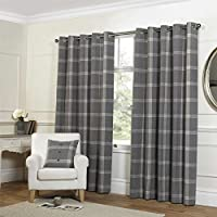 "Tartan Check Grey 90x90"" 229x229cm Lined Wool Look & Feel Ring Top Curtains Drapes by Curtains"