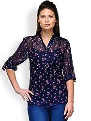 Purplicious Blue floweral printed chinese collar shirt