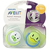 Philips AVENT SCF182/24 2 Pack BPA Free Animal Pacifier, 6-18 Months, Style and Color May Vary