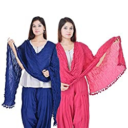 Kalrav Solid Blue and Light Pink Cotton Dupatta Combo