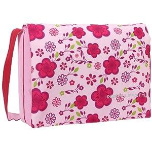 15.4 inch Pink Spring Floral Pattern Laptop Notebook Padded Compartment Shoulder Messenger Bag by MyGift