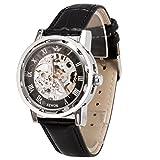 メンズ腕時計 機械式腕時計 手巻き スケルトンタイプ ウォッチ ブラック+ブラック