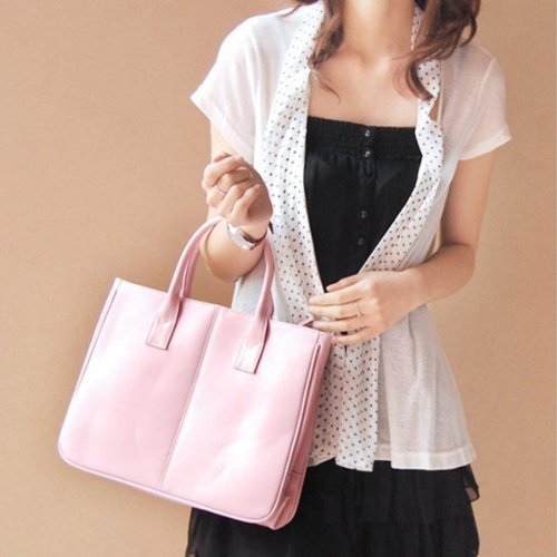 Pure Pink Korea Simple Style Faux Leather OL Office Lady Women Classic Tote Clutch Bag