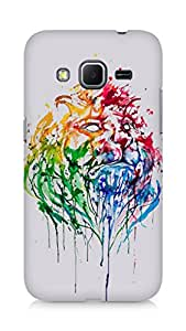 Amez designer printed 3d premium high quality back case cover for Samsung Galaxy Core Prime (Paint Lion Head)