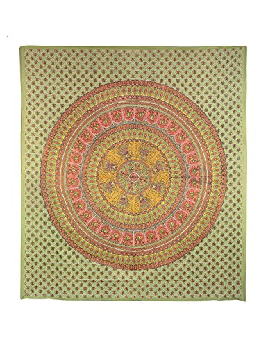 Sunshine Joy Traditional Indian Elephant & Peacock Tapestry Sage, Coral & Mustard front-1046853